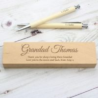 Personalised Any Message Wooden Pen & Pencil Box Set - ideal end of term gift for teacher, as well as a great Father's Day, Mother's Day, Birthday, retirement or leaving present.